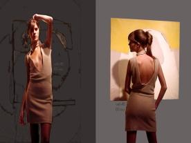 vestido escote delantero y espalda